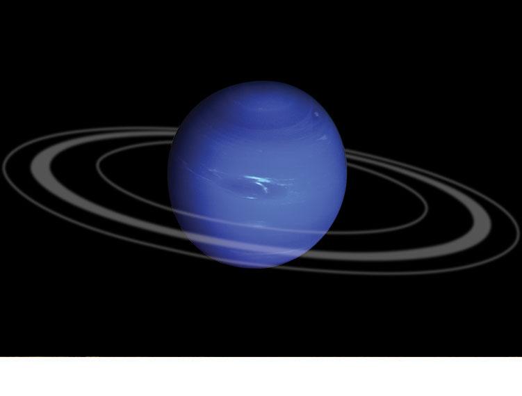 Планета Нептун, имеющая шесть колец.