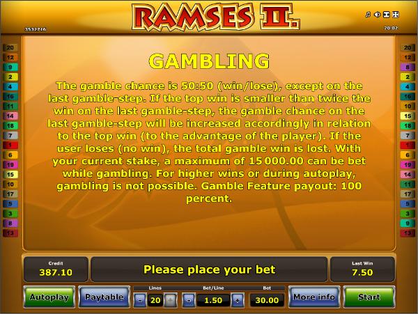 """Описание игрового автомата """"Ramses-II"""""""