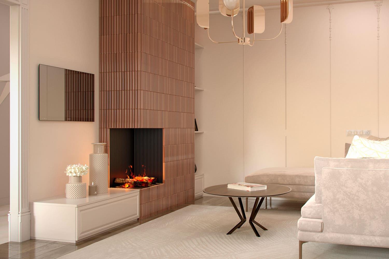 32803 Электрический камин в интерьере гостиной