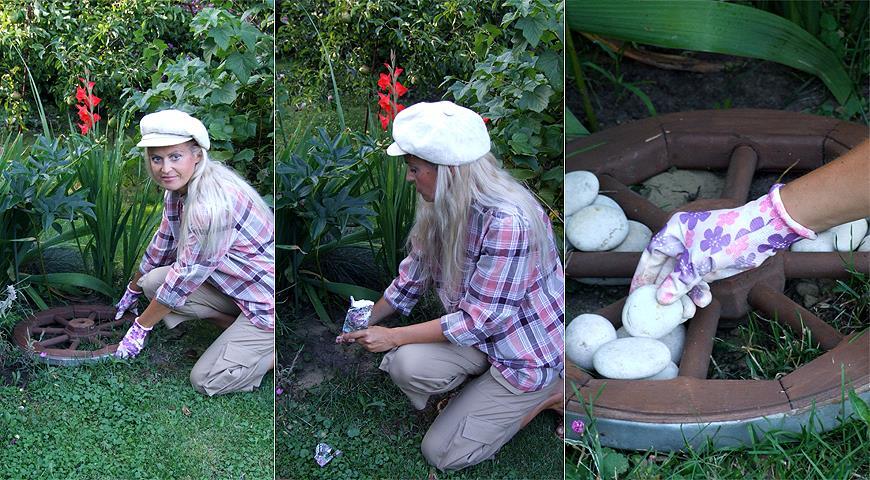 Идея для декора сада: салаты в тележном колесе