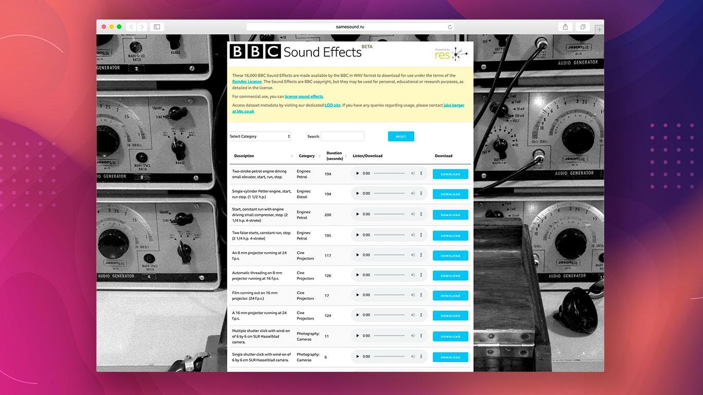 BBC, Sound Effects, где скачать сэмплы, где скачать звуковые эффекты, бесплатные каталоги сэмплов
