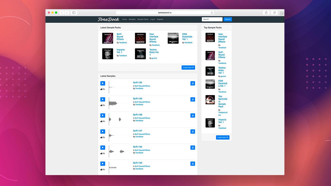 ToneDock, где скачать сэмплы, где скачать звуковые эффекты, бесплатные каталоги сэмплов