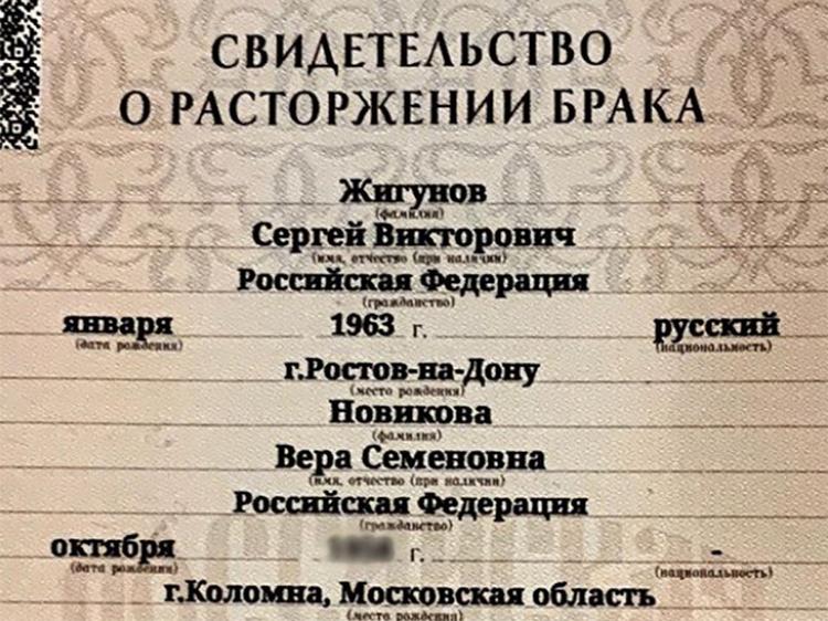 39182 Сергей Жигунов развелся с Верой Новиковой во второй раз