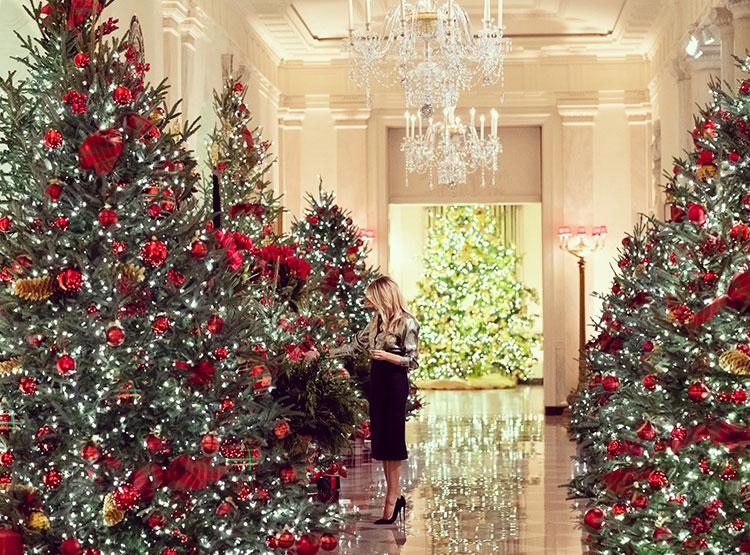 40782 Мелания Трамп показала, как украсила Белый дом к Рождеству с помощью волонтеров со всей Америки