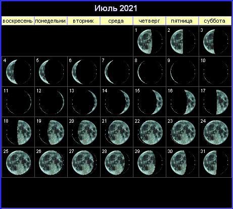 40890 Лунный календарь на июль 2021 года