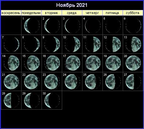 43354 Лунный календарь на ноябрь 2021 года