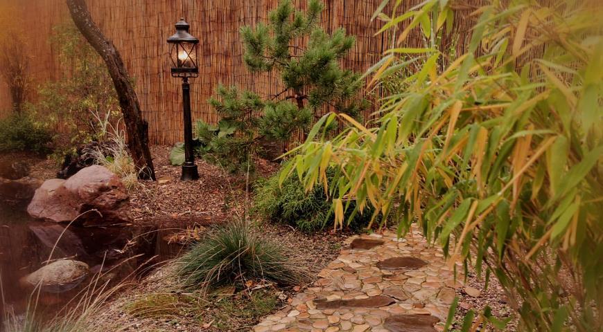 Бамбуковые маты в китайском саду