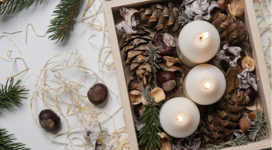 каштаны, Рождество, декор